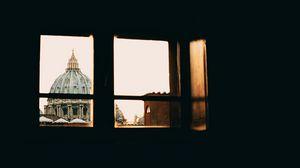 Превью обои окно, крыша, ватикан, архитектура