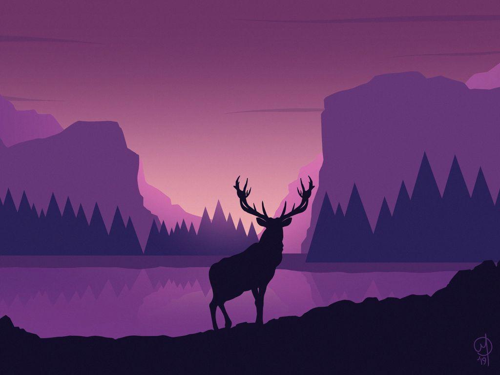 1024x768 Обои олень, арт, вектор, горы, пейзаж