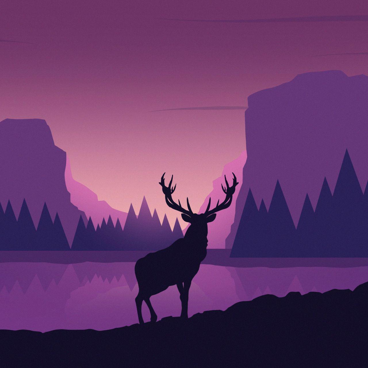 1280x1280 Обои олень, арт, вектор, горы, пейзаж