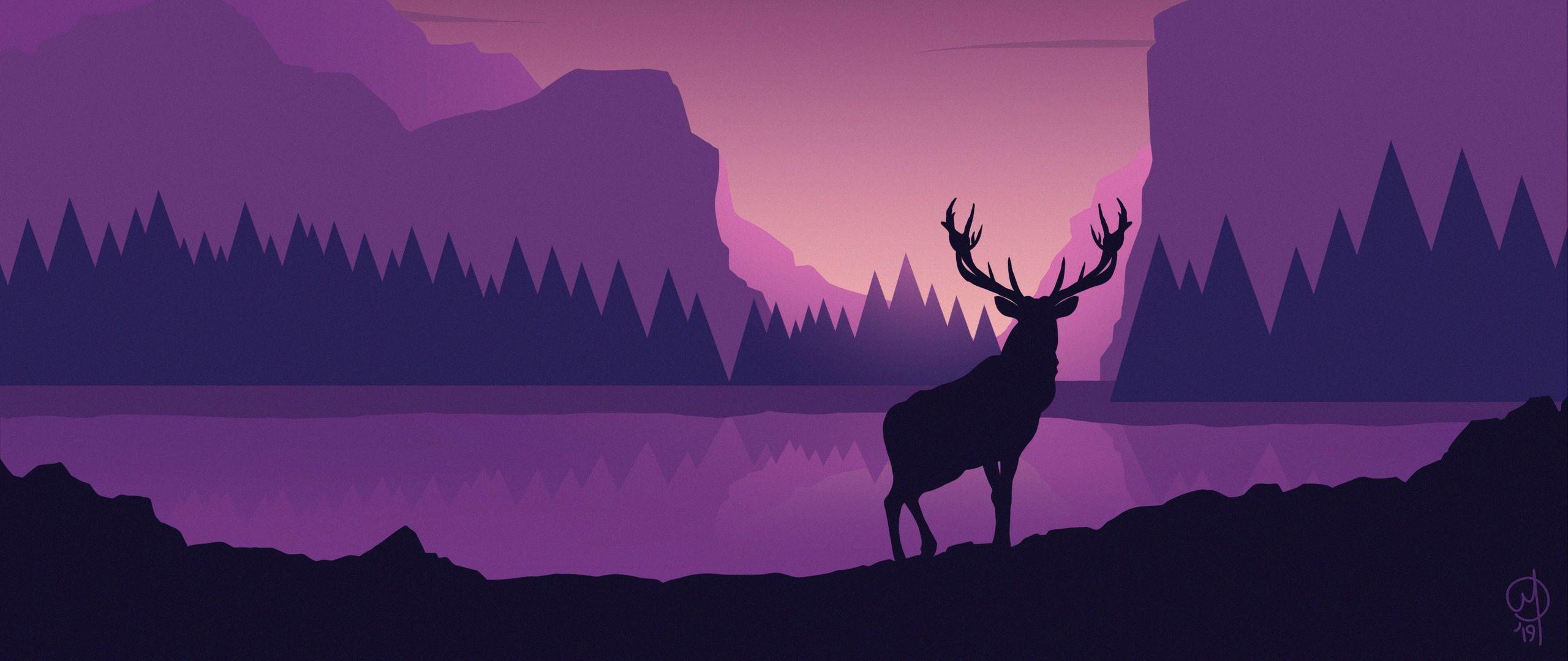 2560x1080 Обои олень, арт, вектор, горы, пейзаж
