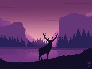 Превью обои олень, арт, вектор, горы, пейзаж