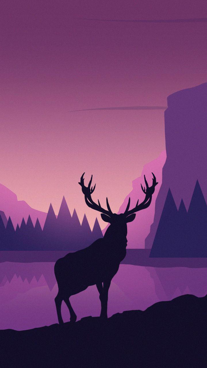 720x1280 Обои олень, арт, вектор, горы, пейзаж