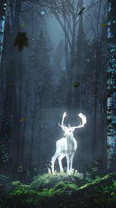 Превью обои олень, лес, ночь, свечение, арт, трава, деревья, листья