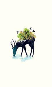Превью обои олень, минимализм, вектор, фон, природа