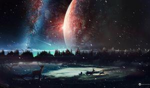 Превью обои олень, планета, арт, космос, звезды