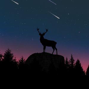 Превью обои олень, силуэт, сумерки, луна, холм