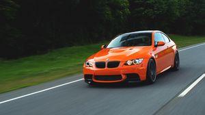 Превью обои orange, бмв, e92, speed, bmw, оранжевый, m3
