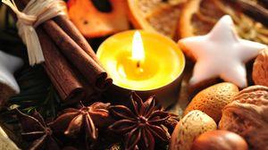 Превью обои орехи, корица, свеча