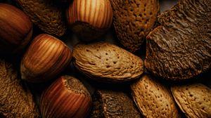 Превью обои орехи, миндаль, фундук, коричневый, плоды