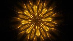 Превью обои орнамент, фрактал, узоры, золотистый