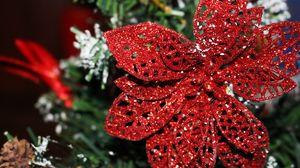 Превью обои орнамент, рождественские украшения, пуансеттия, украшение