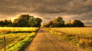 Превью обои осень, поля, дорога, пейзаж