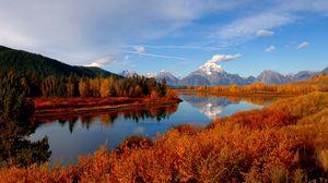 Превью обои осень, река, небо, природа