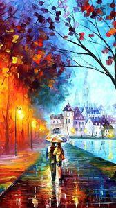 Превью обои осень, рисунок, прогулка