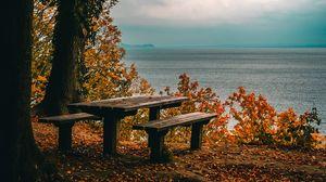 Превью обои осень, скамейки, стол, море, берег, деревья, листва