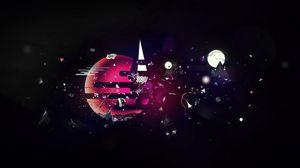 Превью обои осколки, планета, мир, воображение