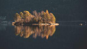 Превью обои остров, деревья, озеро, вода, природа