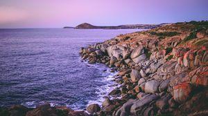 Превью обои остров гранит, австралия, камни, берег