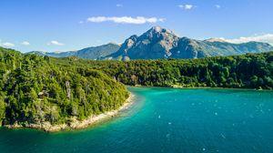 Превью обои остров, море, океан, вид сверху, деревья, зелень