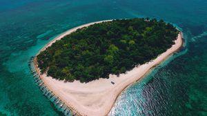 Превью обои остров, океан, вид сверху, тропики, море, филиппины