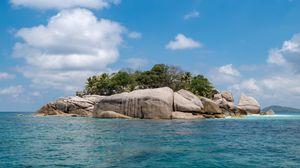 Превью обои остров, скалы, деревья, вода, море