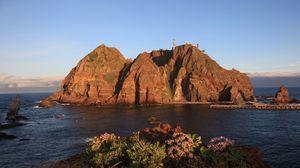 Превью обои остров, скалы, докдо, корея, кенсан-намдо