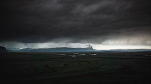 Превью обои остров, темный, облака, исландия