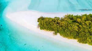 Превью обои остров, вид сверху, океан, тропики, пальмы, пляж