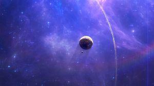 Превью обои открытый космос, туманность, планеты, звезды, яркий, сияющий