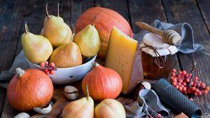 Превью обои овощи, фрукты, груши, тыква, мед, сыр, натюрморт