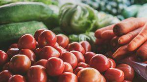 Превью обои овощи, томаты, морковь, капуста