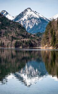 Превью обои озеро, горы, лес, вода, отражение, пейзаж