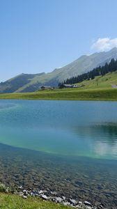 Превью обои озеро, горы, вода, пейзаж, природа, лето