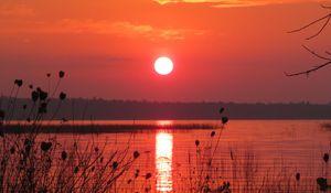 Превью обои озеро, солнце, закат, темный