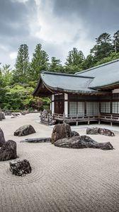 Превью обои пагода, архитектура, камни, песок, пейзаж