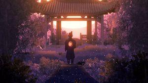 Превью обои пагода, архитектура, самурай, свет, сумерки