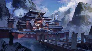 Превью обои пагода, храм, снег, зима, арт