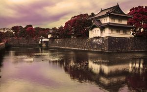 Превью обои пагода, архитектура, вода, сумерки, пейзаж