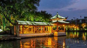 Превью обои пагода, здание, подсветка, деревья, озеро, сумерки
