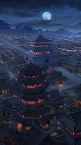 Превью обои пагоды, здания, архитектура, ночь, вид сверху, арт