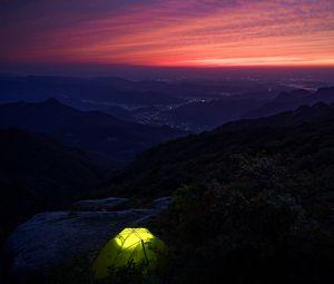 Превью обои палатка, поход, горы, сумерки, темный