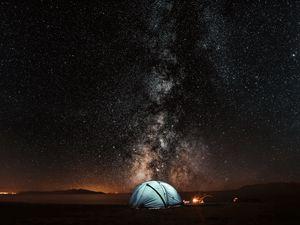 Превью обои палатка, звездное небо, ночь, туризм