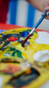 Превью обои палитра, краски, рука, кисть, творчество