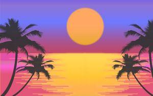 Превью обои пальмы, вектор, арт