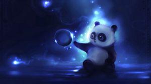 Превью обои панда, арт, apofiss, ночь