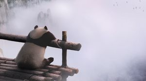Превью обои панда, горы, туман, облака, природа