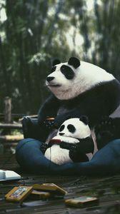 Превью обои панды, джойстики, картриджи, играть, геймер