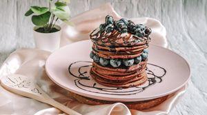 Превью обои панкейки, блины, черника, ягоды, десерт