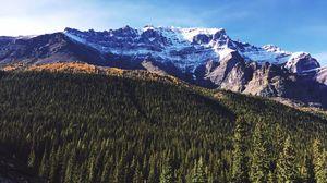 Превью обои панорама, горы, небо, деревья