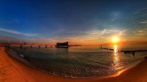 Превью обои панорама, пирс, берег, закат